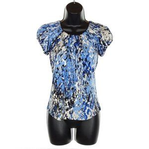 STYLE & CO Puff Sleeve Blouse Top Stretch Blue S